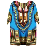 Boy's Sky Blue Traditional V-neck Dashiki