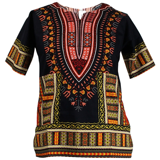 Boy's Black Traditional V-neck Dashiki