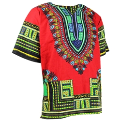 Men's Red and Green Traditional V-neck Dashiki