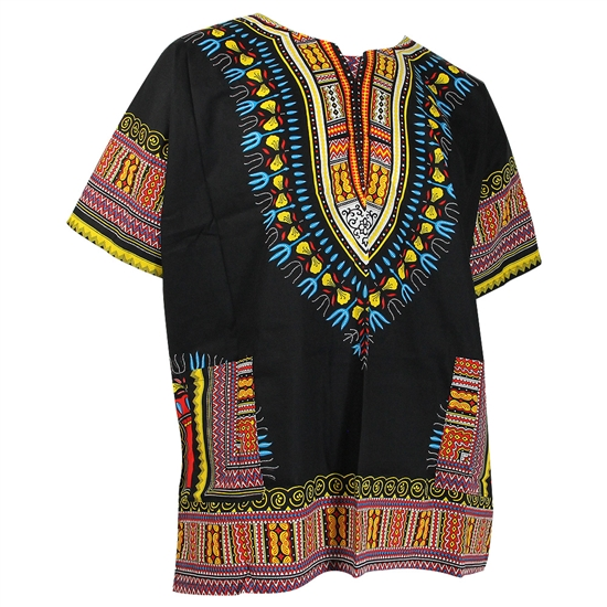 Men's Black and Blue Traditional V-neck Dashiki