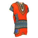 Men's Orange and Blue Traditional V-neck Dashiki