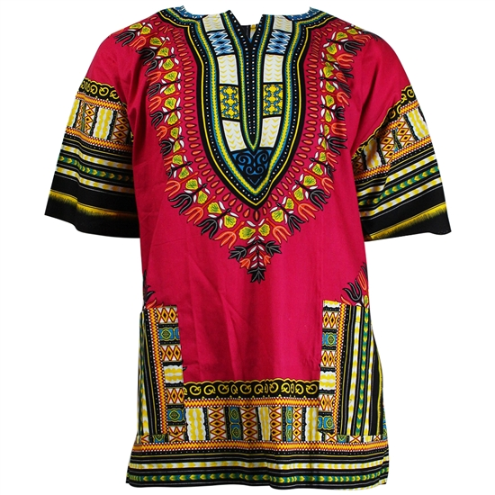 Men's Red and Brown Traditional V-neck Dashiki
