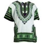 Men's White and Green Traditional V-neck Dashiki