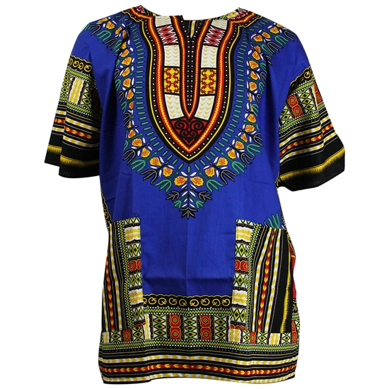 Men's Green and Blue Traditional V-neck Dashiki