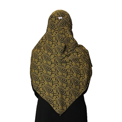 Savannah Green Muslims Women's Headscarf Hijab with Black Pattern Print