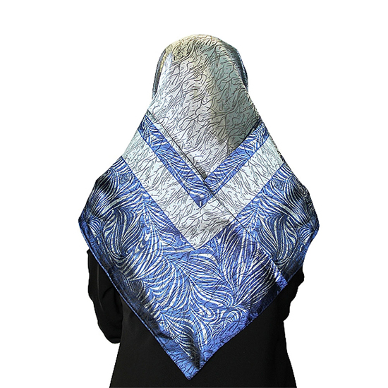 Gray and Blue Muslims Women's Headscarf Hijab with Wave Pattern Print