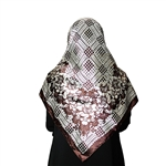 White and Brown Muslims Women's Headscarf Hijab with White Floral Print