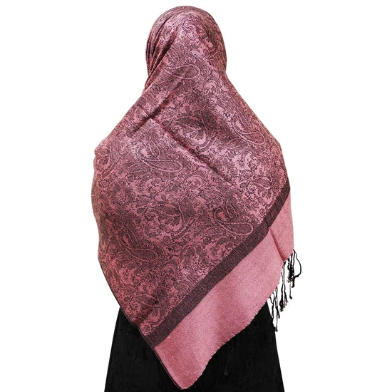 Pink Jacquard Print Muslims Women's Headscarf Hijab with Black Tassels