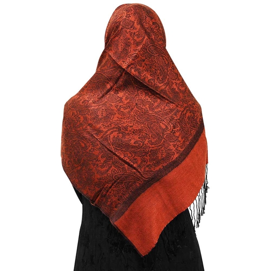 Red Orange Jacquard Print Muslims Women's Headscarf Hijab with Black Tassels