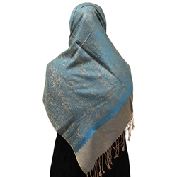 Warm Gray Muslims Women's Headscarf Hijab with Sea Blue Jacquard Print and Gold Tassels