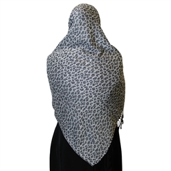 Warm Gray Leopard Print Muslims Women's Headscarf Hijab with Black Tassels
