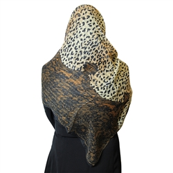 Cheetah Print and Yellow Jacquard Multipattern Muslims Women's Headscarf Hijab