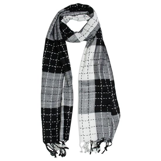 White and Black Plaid Checkered Design Rectangle Women's Hijab Scarf with Tassles
