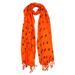 Orange Red and Black Polkadot Design Rectangle Women's Hijab Scarf with Tassles