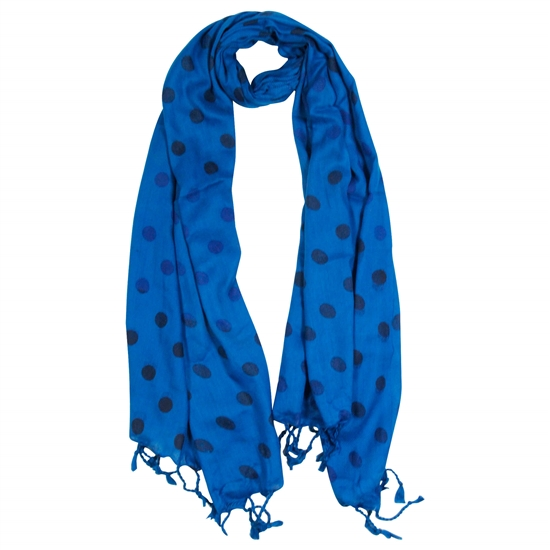 Indigo and Blue Polkadot Design Rectangle Women's Hijab Scarf with Tassles