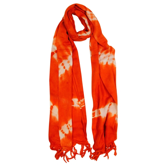 Red Orange and White Tie-dye Rectangle Women's Hijab Scarf with Tassles