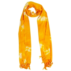 Yellow and White Tie-dye Rectangle Women's Hijab Scarf with Tassles