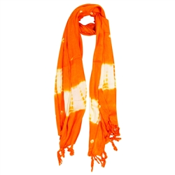 Orange and White Tie-dye Creamsicle Rectangle Women's Hijab Scarf with Tassles