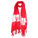 Red and White Tie-dye Creamsicle Rectangle Women's Hijab Scarf with Tassles