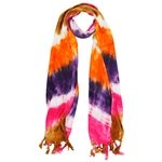 Orange Purple Pink and Brown Tie Dye Rectangle Women's Hijab Scarf with Tassles