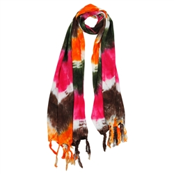 Orange Green Pink and Brown Tie Dye Rectangle Women's Hijab Scarf with Tassles