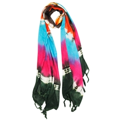 Green Blue Pink and Brown Tie Dye Rectangle Women's Hijab Scarf with Tassles