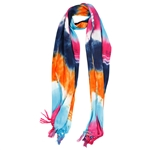 Orange Blue Pink and Brown Tie Dye Rectangle Women's Hijab Scarf with Tassles