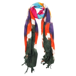 Purple Blue Orange and Green Tie Dye Rectangle Women's Hijab Scarf with Tassles