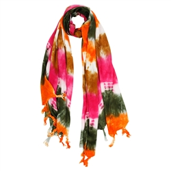 Pink Brown Green and Orange Tie Dye Rectangle Women's Hijab Scarf with Tassles
