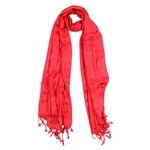 Red Jacquard Style Embroidered Rectangle Women's Hijab Scarf with Tassles