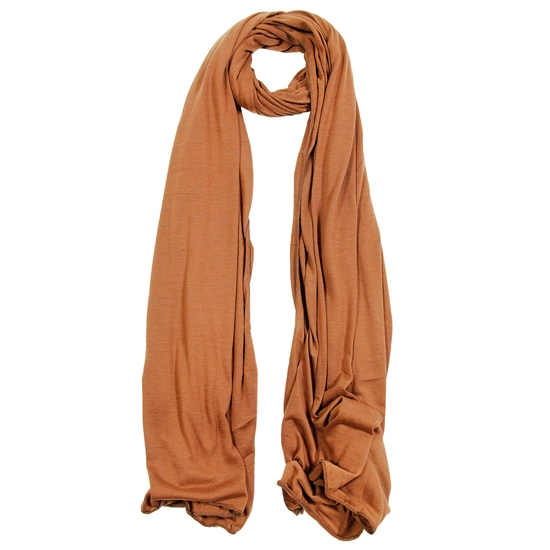 Plain Clay Brown Lightweight Womens Jersey Hijab Scarf