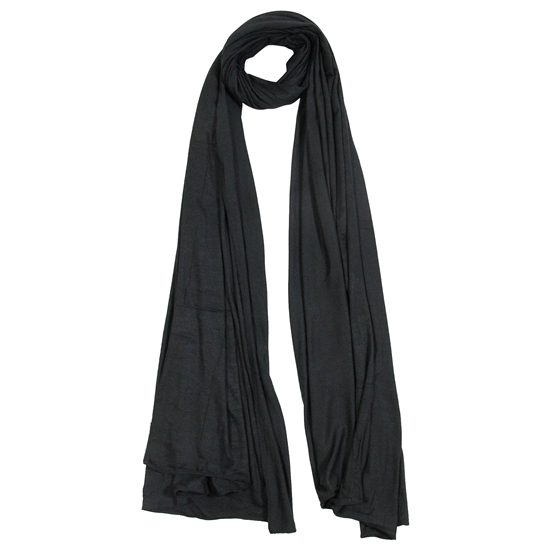 Plain Black Soft Lightweight Womens Jersey Scarf Hijab