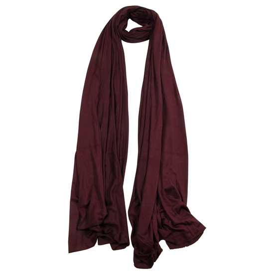 Plain Wine Red Soft Lightweight Womens Scarf Hijab