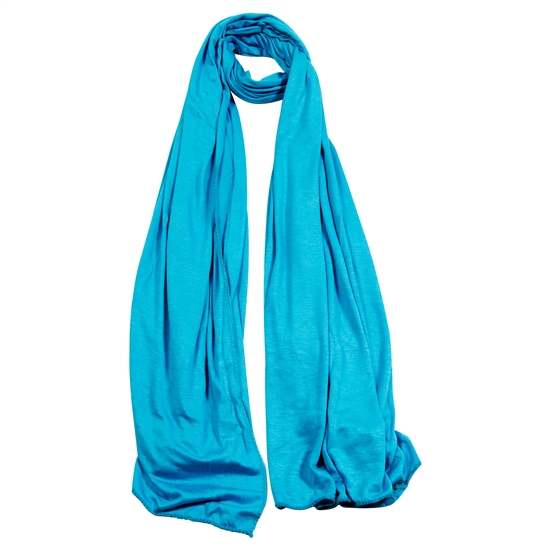 Plain Cyan Blue Lightweight Womens Scarf Hijab