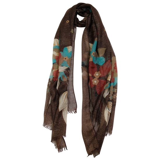 Brown and Gold Floral Women Hijab Scarf Frills