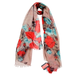 Warm Gray Gold Floral Pattern Women Hijab Scarf