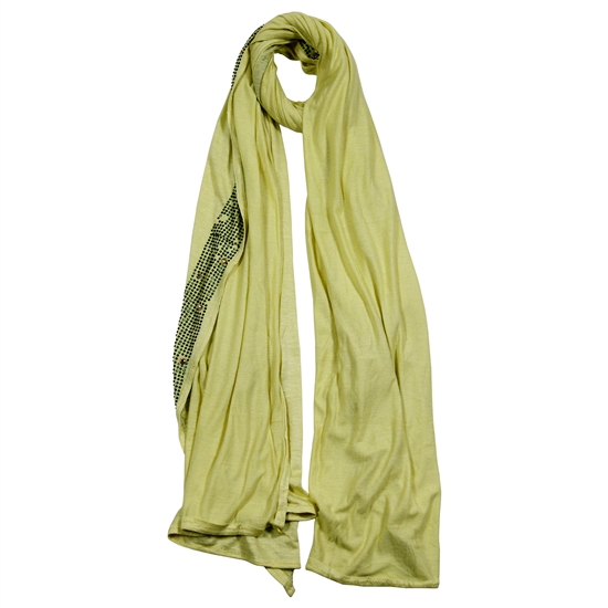 Yellow Women Elastic Hijab Scarf Green Glass Beads