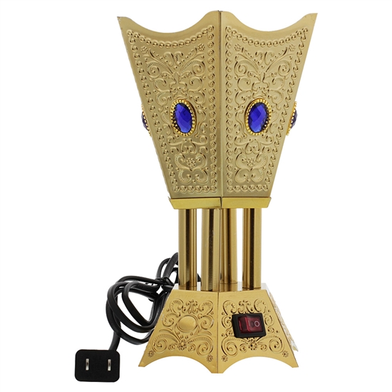 Hexagon Gold Tone Electric Incense Bakhoor Burner