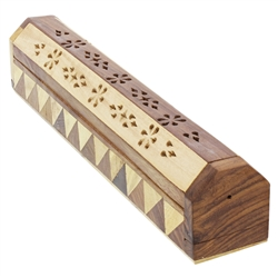 Horizontal Wooden Incense Stick and Cone Burner