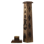 Wooden Narrow Shape Antique Tower Holder Incense