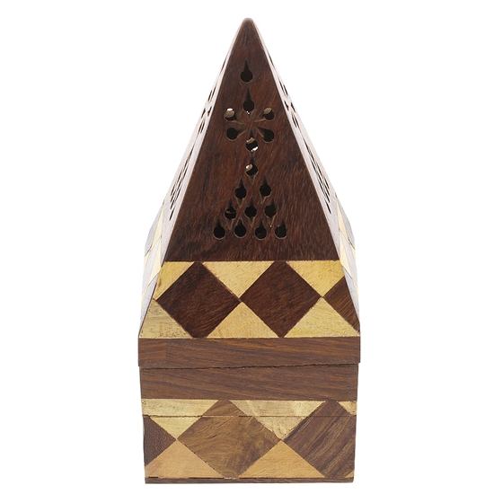 6.5 x 3 inch Square Wooden Bakhoor and Cone Burner Pod