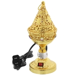 Cone Shaped Gold Tone Electric Incense Burner
