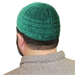 Dark Emerald Green Cotton Knitted Kufi Muslim Prayer Men's Skull Cap Islamic Hat