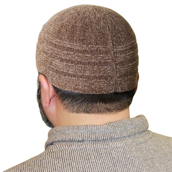 Light Brown Color Cotton Knitted Kufi Muslim Prayer Men's Skull Cap Islamic Hat