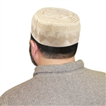 Men's Islamic Muslim Kufi Prayer Cap in Cream Color- 22""