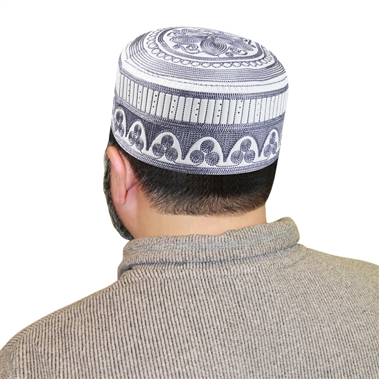 Men's Islamic Muslim Kufi Prayer Cap in White and Blue