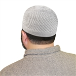 Gray Knitted Kufi Muslim Men's Skull Islamic Hat