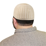 Tan Knitted Kufi Muslim Prayer Men's Skull Cap Islamic Hat Topi