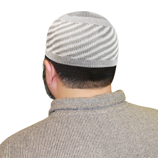 Gray Kufi Muslim Prayer Mens Islamic Hat Topi