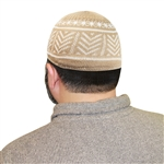 Islamic Muslim Mens Prayer Cream and White Knitted Kufi Skull Cap Topi